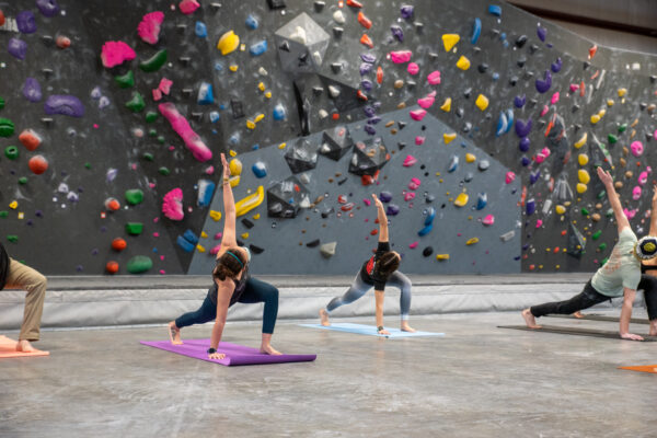 A yoga class in the climbing hall