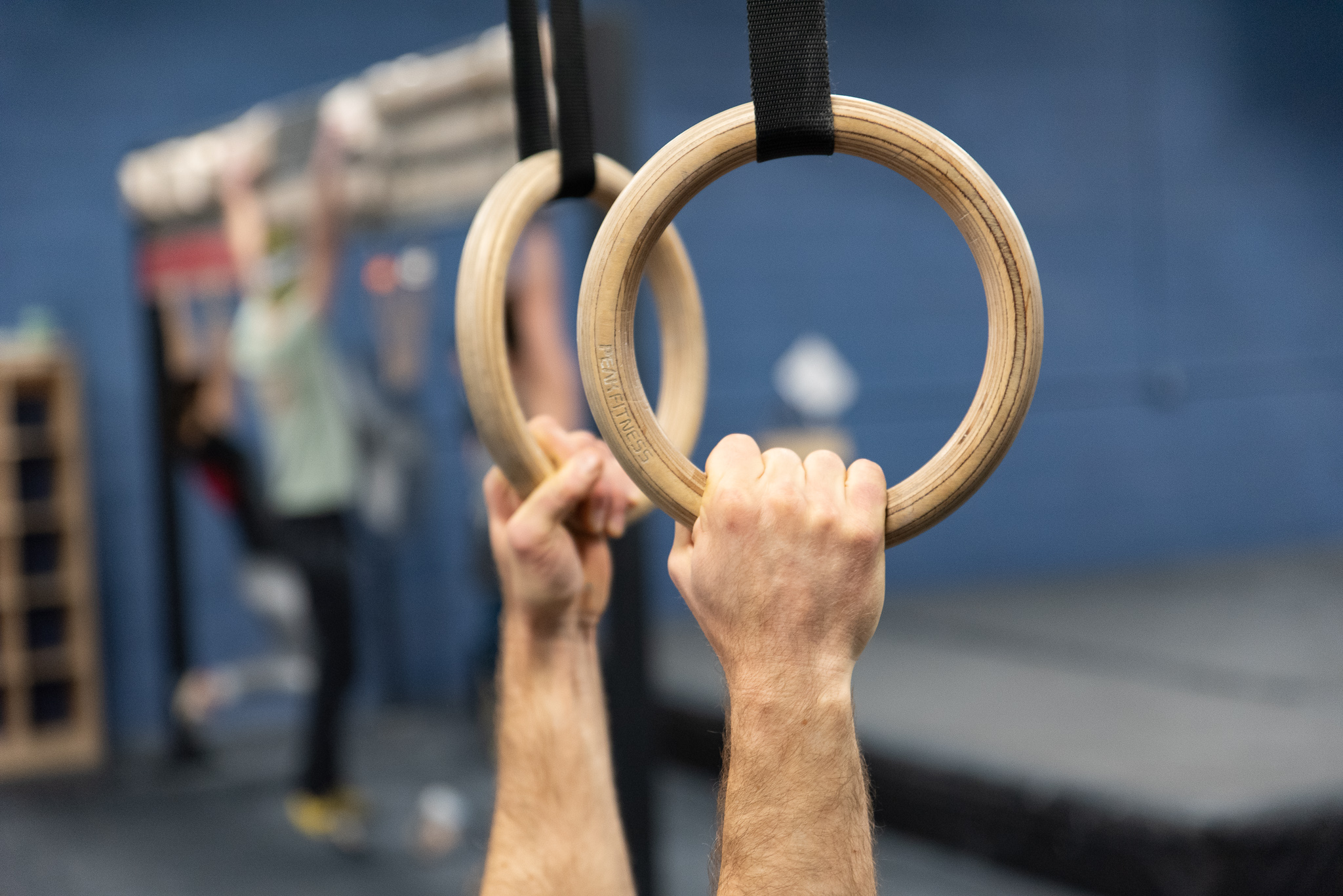 Hands holding the rings in the fitness room